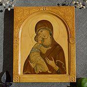 Картины и панно handmade. Livemaster - original item Icon of the Theotokos of Vladimir (hand painted).. Handmade.