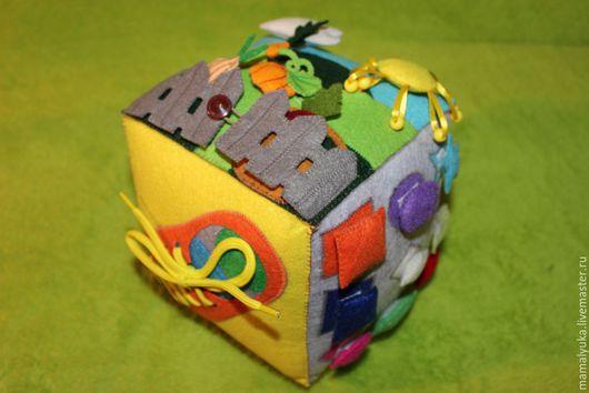 Развивающие игрушки ручной работы. Ярмарка Мастеров - ручная работа. Купить Развивающий кубик из фетра. Handmade. Комбинированный, фетр, шнурок