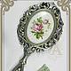 Зеркало с ручкой-`Серебро`, для дома ручной работы.Антонова Ирина.Ярмарка Мастеров.