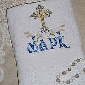 Работы для детей, ручной работы. Ярмарка Мастеров - ручная работа Крестильное махровое  полотенце. Handmade.