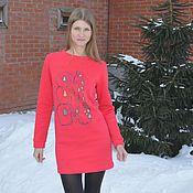 Одежда ручной работы. Ярмарка Мастеров - ручная работа Теплое платье коралл с принтом. Handmade.