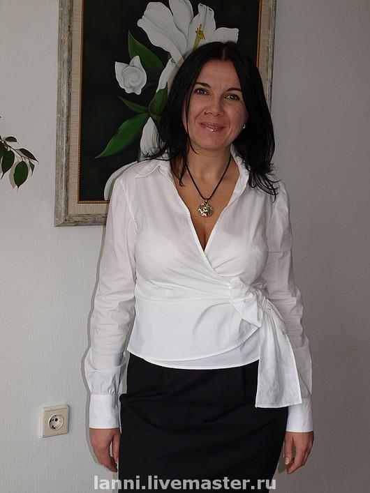 Блузки ручной работы. Ярмарка Мастеров - ручная работа. Купить Блуза с запАхом. Handmade. Блуза, белая, запах, сорочка, хлопок