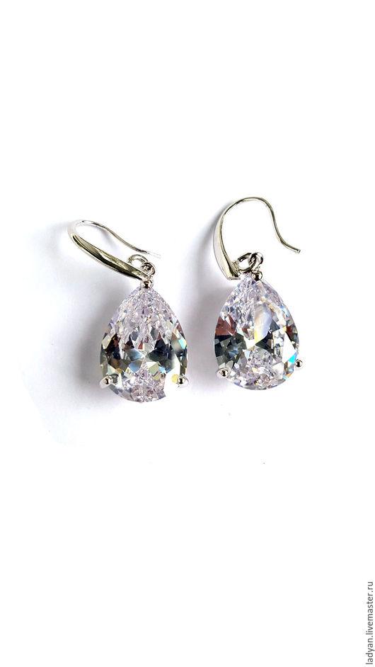 Серьги кристаллы, лед, ледяной, серьги капли, вода, прозрачный, кристалл, ледяной, серьги с крупным камнем, длинные серьги