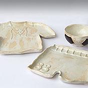 """Посуда ручной работы. Ярмарка Мастеров - ручная работа """"Футбол"""" - набор тарелок. Handmade."""