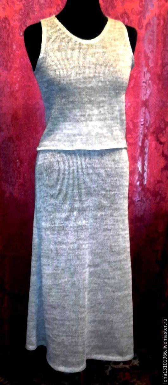 Костюмы ручной работы. Ярмарка Мастеров - ручная работа. Купить 100% льняная пряжа.Женский костюм КУЛИРКА. Handmade. Серый