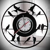 "Для дома и интерьера handmade. Livemaster - original item Wall Clock ""Swallows"" made from vinyl records. Handmade."