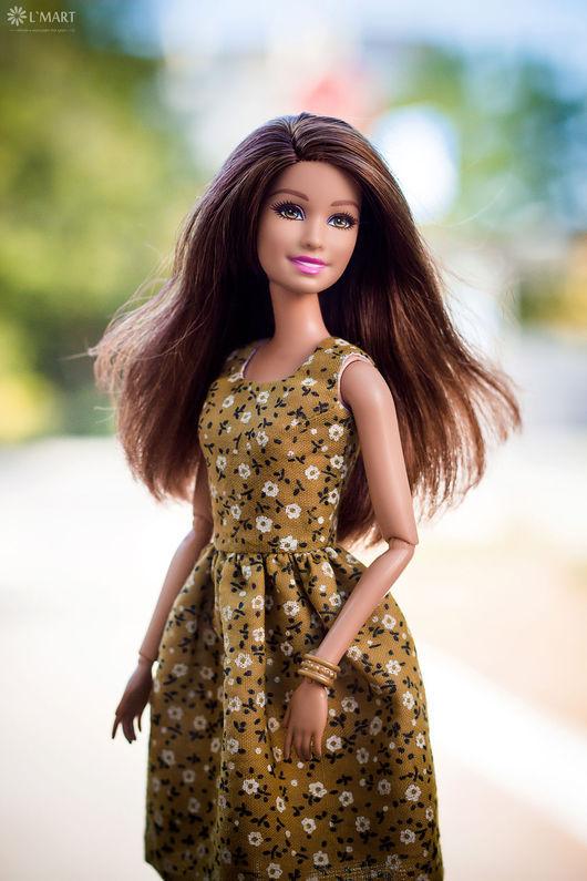 Одежда для кукол ручной работы. Ярмарка Мастеров - ручная работа. Купить Платье в Цветочек Оливкового цвета для Барби, Поппи Паркер. Handmade.