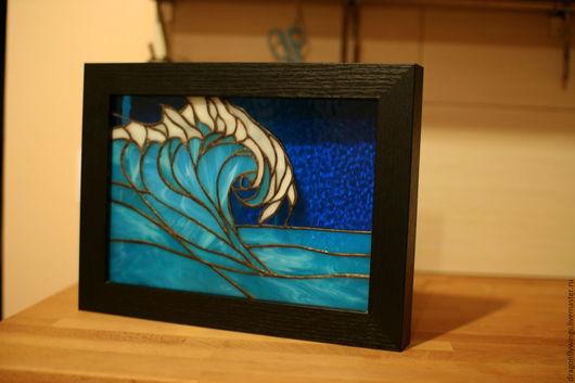"""Освещение ручной работы. Ярмарка Мастеров - ручная работа. Купить Ночник """"Волна"""". Handmade. Витраж, ночник, море, подарок на новоселье"""