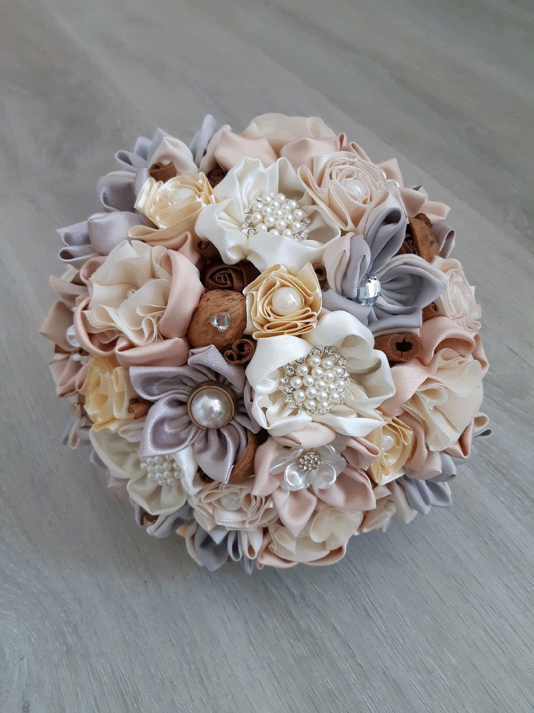 Wedding Brooch Bouquet In Cream And Natural Rustic Style Zakazat Na Yarmarke Masterov Grao7com Svadebnye Bukety Moscow