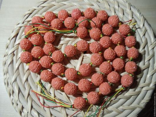 Для украшений ручной работы. Ярмарка Мастеров - ручная работа. Купить Резные бусины шары из пресованного коралла-10мм. Handmade.