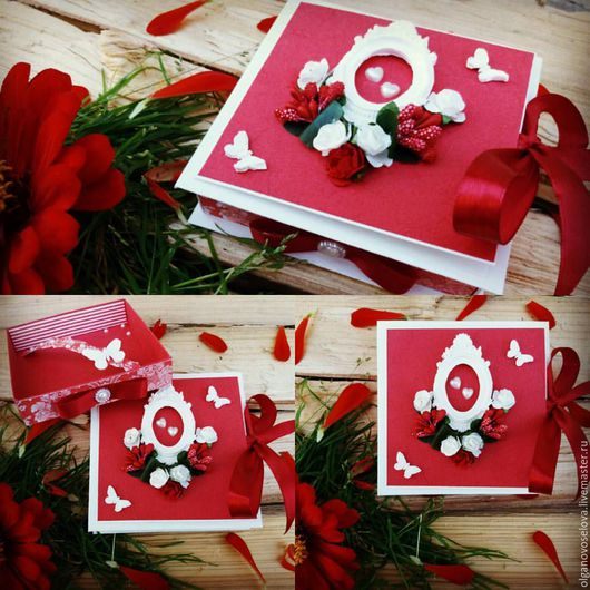 Коробочка для подарка на свадьбу с выдвижным ящичком для купюр, а также есть место для поздравления молодым.