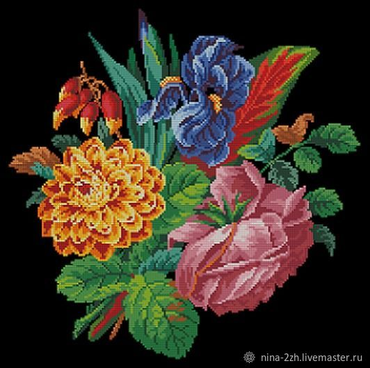 The scheme for embroidery: Bouquet with iris, Patterns for embroidery, Penza,  Фото №1