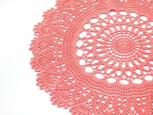 Текстиль, ковры ручной работы. Ярмарка Мастеров - ручная работа. Купить Салфетка вязаная крючком. Handmade. Коралловый, салфетка для декора