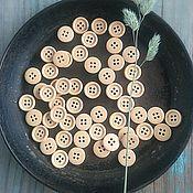 Материалы для творчества ручной работы. Ярмарка Мастеров - ручная работа Пуговицы деревянные светлые 15 мм ободок 4 прокола. Handmade.