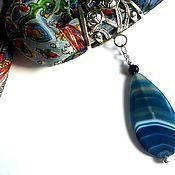 Украшения ручной работы. Ярмарка Мастеров - ручная работа Шарф с кулоном из агата синего цвета - 120 см. Handmade.