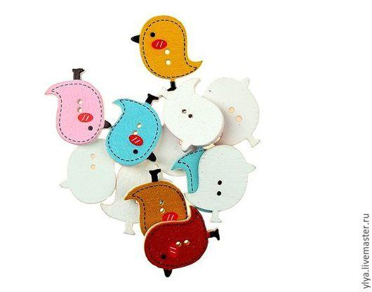 """Куклы и игрушки ручной работы. Ярмарка Мастеров - ручная работа. Купить Пуговицы деревянные """"Птички"""".. Handmade. Комбинированный, пуговицы"""