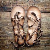 Обувь ручной работы. Ярмарка Мастеров - ручная работа Кожаные сандалии легкие с плетеными ремешками. Handmade.