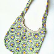 Сумки и аксессуары handmade. Livemaster - original item Bag knitted African flower beige cotton. Handmade.