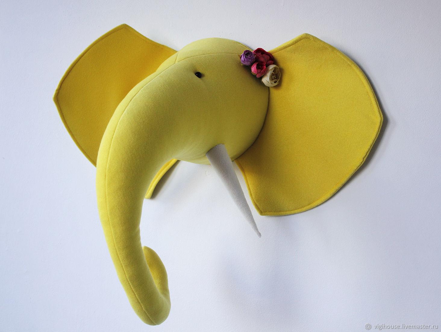 Детская ручной работы. Ярмарка Мастеров - ручная работа. Купить Трофей голова слона. Handmade. Слон, желтый, Декор