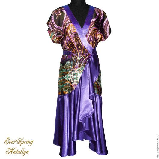 Фиолетовый халат, шёлковый халат, длинный халат, женский халат, романтичный халатик, халат с запахом, домашнее платье, халат с узором пейсли, купить халат.