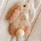 """Украшения handmade. Livemaster - original item Pin, brooch made of Japanese beads """"Bunny"""". Handmade."""