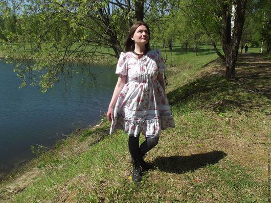 """Платья ручной работы. Ярмарка Мастеров - ручная работа. Купить Летнее платье """"Розы и серебро"""". Handmade. Комбинированный, платье хлопок"""