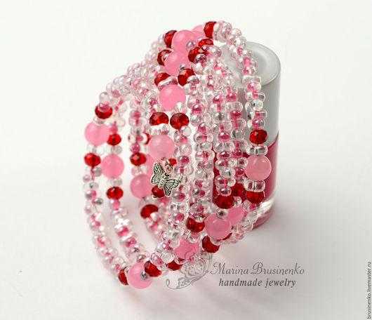 Браслеты ручной работы. Ярмарка Мастеров - ручная работа. Купить Браслет Летний розовый из бусин фарфаль и кварца. Handmade.
