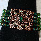 Украшения handmade. Livemaster - original item Copper bracelet with rhinestones and beads Swarovski Medina. Handmade.