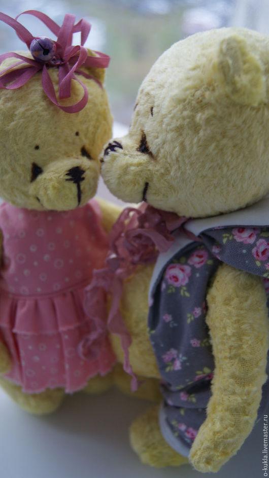 """Мишки Тедди ручной работы. Ярмарка Мастеров - ручная работа. Купить авторские мишки """"Лучик и Лучезарна"""". Handmade. Желтый"""