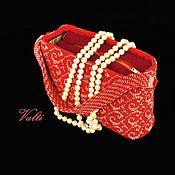handmade. Livemaster - original item Handbag red with gold print. Handmade.