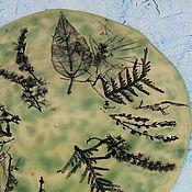 Plates handmade. Livemaster - original item Ceramic plate with an impression of plants. Handmade.