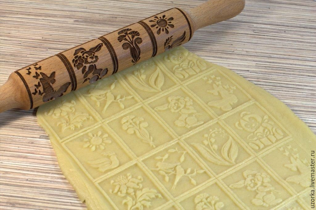 Rolling pin with a pattern .Gingerbread 'Spring', Rolling pins, Tyumen,  Фото №1
