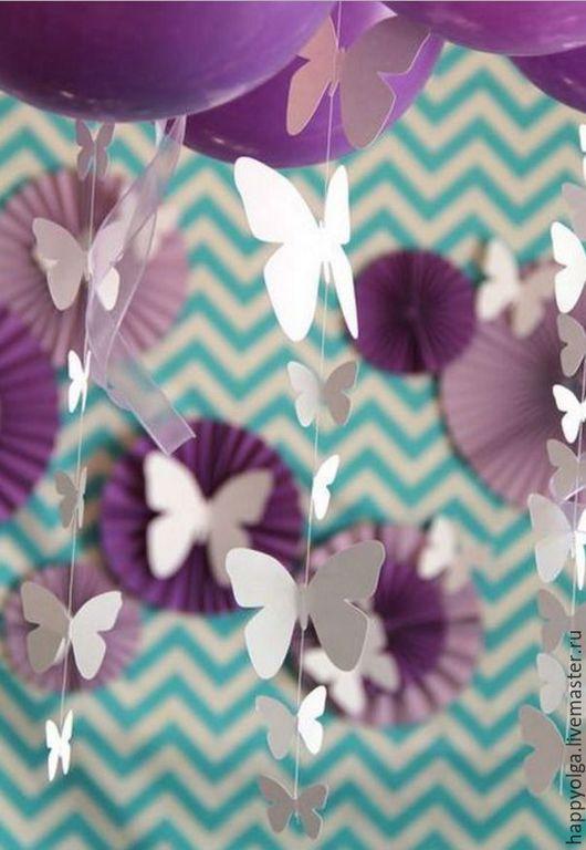Гирлянда бабочки белые