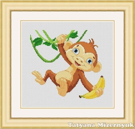 """Вышивка ручной работы. Ярмарка Мастеров - ручная работа. Купить Схема для вышивки крестиком """"Обезьянка с бананами на дереве"""". Handmade."""