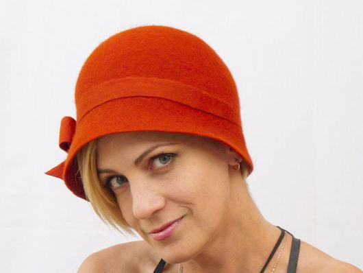 """Шляпы ручной работы. Ярмарка Мастеров - ручная работа. Купить Шляпка """"Рябиновая ночь"""". Handmade. Рыжий, авторская ручная работа"""