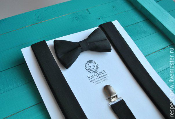 Черный галстук бабочка Классика + черные однотонные подтяжки, Ремни, Москва,  Фото №1