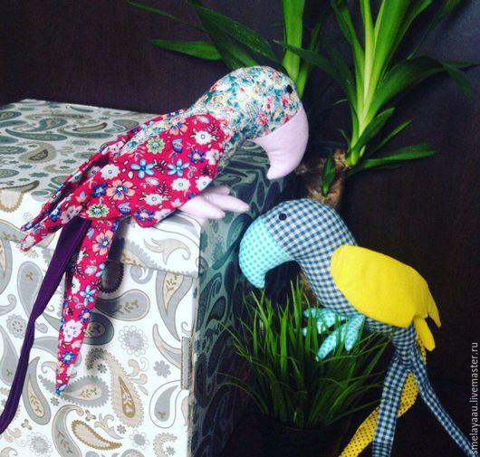 Игрушки животные, ручной работы. Ярмарка Мастеров - ручная работа. Купить Текстилные попугаи. Handmade. Желтый, тильда кукла