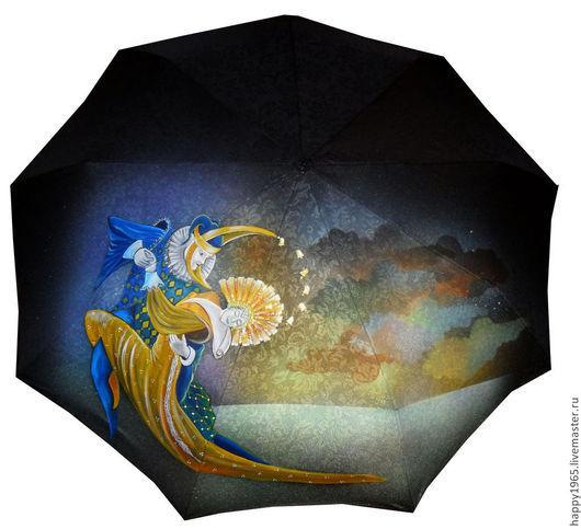 """Зонты ручной работы. Ярмарка Мастеров - ручная работа. Купить Зонт ручной росписи """"Солнце и луна"""". Handmade. Черный, фэнтези"""