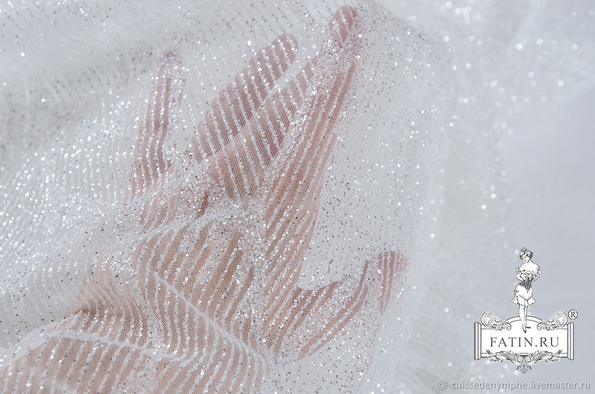 "Мерцающий глиттер ""Осколки"" на молочном фатине, 1834, Ткани, Москва,  Фото №1"