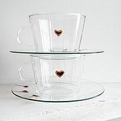 Посуда ручной работы. Ярмарка Мастеров - ручная работа Чашка с блюдцем Сердце сервиз прозрачное стекло ручная роспись. Handmade.