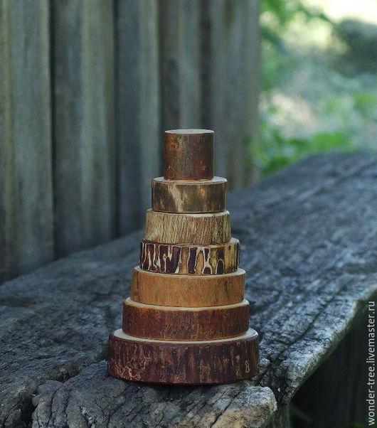 Развивающие игрушки ручной работы. Ярмарка Мастеров - ручная работа. Купить пирамидка. Handmade. Бежевый, деревянная игрушка, Дуб, сосна