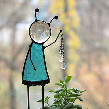Для дома и интерьера ручной работы. Ярмарка Мастеров - ручная работа Повелитель воды. Витражный декор в цветочный горшок. Handmade.
