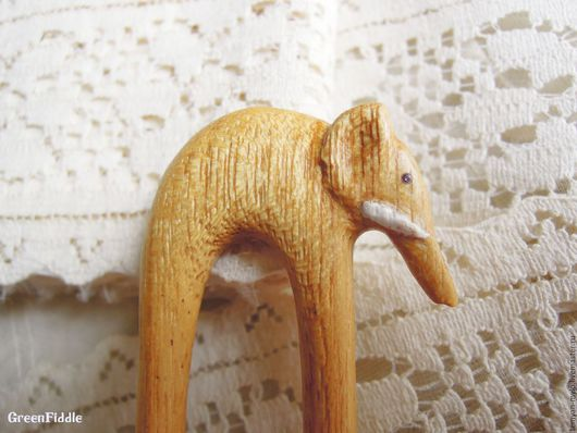 Заколки ручной работы. Ярмарка Мастеров - ручная работа. Купить Заколка Белый слон, деревянная резная, чен чен. Handmade.