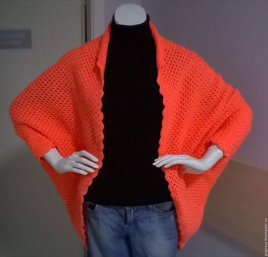 Кофты и свитера ручной работы. Ярмарка Мастеров - ручная работа. Купить кардиган ярко кораллового цвета. Handmade. Кардиган, яркий
