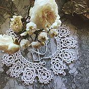 handmade. Livemaster - original item Collars:White crocheted collar with roses. Handmade.