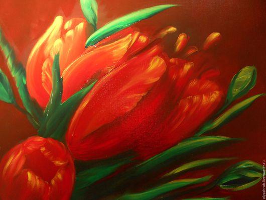 Картины цветов ручной работы. Ярмарка Мастеров - ручная работа. Купить красные тюльпаны. Handmade. Ярко-красный, цветы