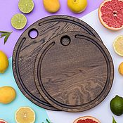 Посуда handmade. Livemaster - original item Set of 2 round cutting boards, color