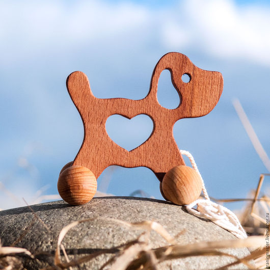 """Развивающие игрушки ручной работы. Ярмарка Мастеров - ручная работа. Купить Деревянная каталочка """"Щенок"""". Handmade. Коричневый, деревянные игрушки"""