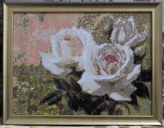 Картины цветов ручной работы. Ярмарка Мастеров - ручная работа. Купить Розы. Handmade. Комбинированный, алмазная вышивка, алмазная техника