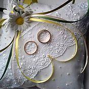 "Свадебный салон handmade. Livemaster - original item Cushion for rings ""Chamomile tenderness"". Handmade."